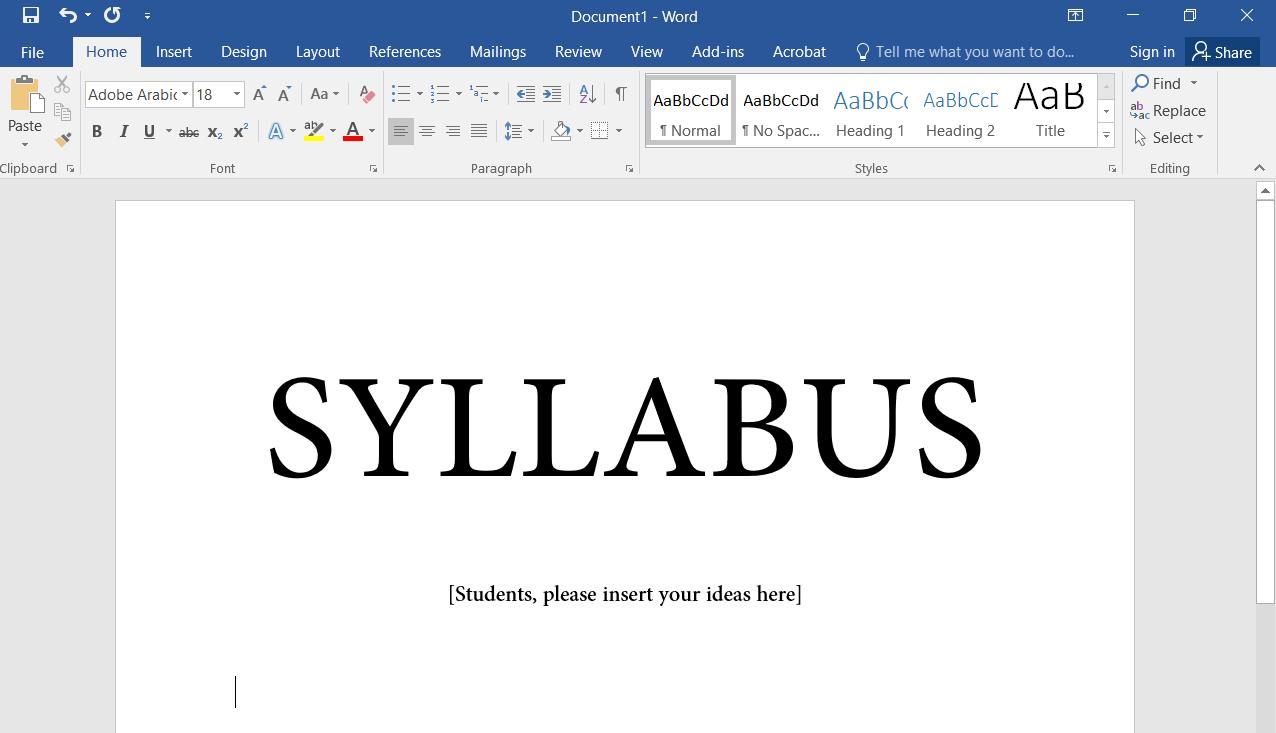 Blank Collaborative Syllabus